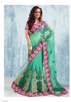 $162.40 Cyan Blue And Deep Pink Net Saree 14977 With Unstitched Blouse