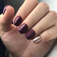 Trendy Manicure Ideas In Fall Nail Colors;Purple Nails; Fall Nai… Trendy Manicure Ideas In Fall Nail Colors;Purple Nails; Burgundy Nail Designs, Burgundy Nails, Fall Nail Designs, Fall Nail Ideas Gel, Dark Purple Nails, Yellow Nail, Pink Nail, Burgundy Color, Matte Nails