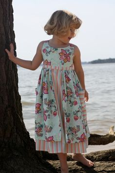 Downloadable Pattern for Sleeveless Dress with Shorter Overskirt and Pockets - Lauren - Sizes 3 to 8