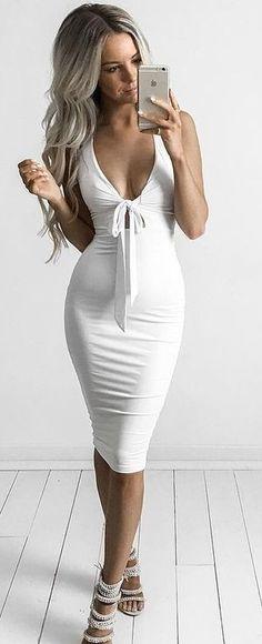 #goddess #kleopatra #eboutique #outfits | White Halter Midi Dress