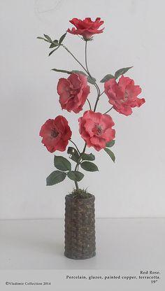 Flowers in Antique Vases Ceramic Flowers, Glass Flowers, Flower Pots, Clay Design, Objet D'art, Polymer Clay Crafts, Sugar Flowers, Flower Pictures, Fine Porcelain