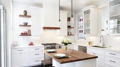White Kitchen Cupboards Design DIY White Laminate Backsplash Also Wooden Flooring Ideas Rustic Kitchen, Kitchen Dining, Kitchen Decor, Country Kitchen, Dining Room, Stools For Kitchen Island, Kitchen Cupboards, Kitchen Taps, Butcher Block Kitchen