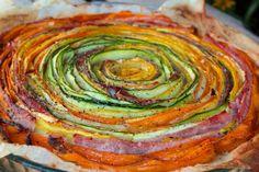 Recette Tarte fleur, belle présentation des légumes dans une tarte salée - Bikini et GourmandiseBikini et Gourmandise