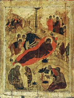 The nativity of Christ, icon in the Annunciation Cathedral in the Moscow Kremlin, Source: Andrei Rublev Byzantine Icons, Byzantine Art, Russian Icons, Russian Art, Religious Icons, Religious Art, Andrei Rublev, Arte Latina, Islamic Art