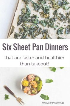 A sheet pan dinner is exactly what it sounds like. A complete meal that is cooked in one pan in the oven. They're quick, delicious, and really easy to clean up. Here are my top 6 recipes that are faster than takeout and way healthier! Fast Dinner Recipes, Fast Dinners, Quick Meals, Real Food Recipes, Great Recipes, Healthy Recipes, Healthy Dinners, Favorite Recipes, Oven Recipes