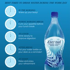 #DrinkWater at the right times to maximize its effectiveness on the body. #EternalBalance