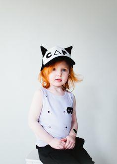Beau LOves SS14 Vest violet dots & crosses & Cat cap