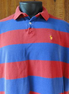 Vtg Polo Ralph Lauren Mens Shirt XL Broad Stripes Blue & Red USA Made S/S  #PolobyRalphLauren #Polo