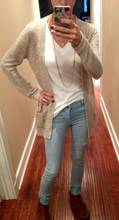 Just jeans and a tee paired with a cardi and mocassins.