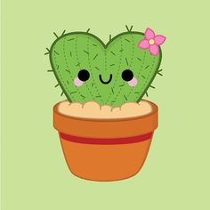 Heart Cactus © pincinc 2014 - I love drawing these! #kawaii #cute #illustration #vector #heart #cactus