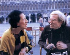"""I want to die young — at seventy. I want to die young — at eighty. I want to die young — at ninety.""   Diana Vreeland (shown with Andy Warhol) , interviewed by Lisa Immordino Vreeland   [More like her at https://www.pinterest.com/yrauntruth/grow-up-age-croning/ ]"