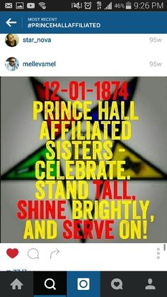 Order of the Eastern Star Prince Hall Affiliated Stand Tall, Shine brightly!