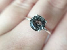 Faceted Tourmalinated Quartz Ring in sterling silver by theBEAline