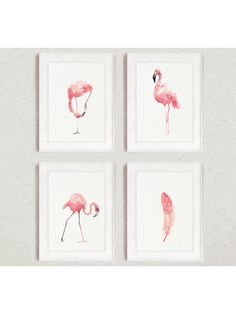Flamingo Whimsical Art Print Set 4, Pink Kids Nursery Room Decor, Feather Painting Abstract Animal Watercolor Poster, Tropical Birds Decor by ColorWatercolor on Etsy https://www.etsy.com/au/listing/263288867/flamingo-whimsical-art-print-set-4-pink