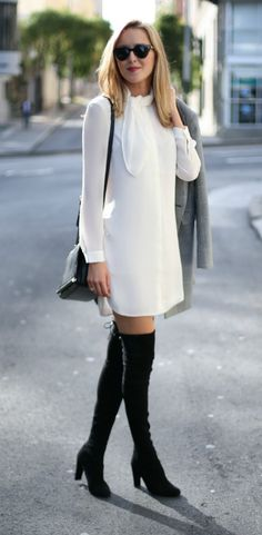 double-breasted black and white checked jacket, ivory tie neck shirtdress, suede over-the-knee boots, crossbody bag + sunglasses {reiss, stuart weitzman, stella mccartney}