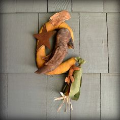 Crow Door Hanger Rustic Fall #Primitive Decoration Crow Mouse Corn Cob Crescent Moon. $30.00, via Etsy. #handmade