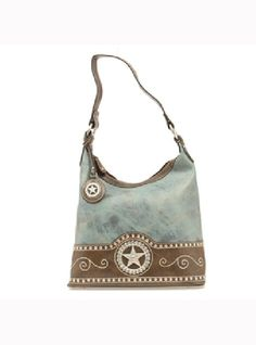 Nocona Ladies Blazin Roxx Purse Collection N75156 - Zipper top Bucket bag with Star Concho, crystals and nailheads detailing, $59.00