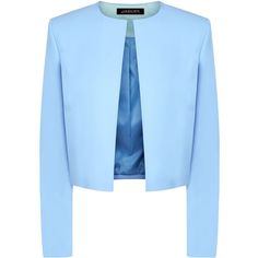 Jaeger Contrast fabric cropped jacket (£99) ❤ liked on Polyvore featuring outerwear, jackets, blazer, blue, clearance, collar jacket, cropped jacket, blue cropped jacket, open front jacket and blue jackets