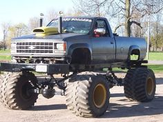 Jacked Chevy. Looks fragile, There's not much under there. Looks like it will shatter when you hit a rock. Also whats with the hood? There are better looking ways to cool your engine. Also it looks top heavy. Go up to much of a hill and it'll fall backwards! Just saying.