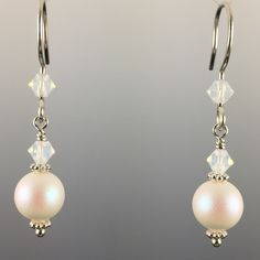 Pearlescent White Swarovski Crystal Pearls & Swarovski Crystal Simple Drop Earrings - 8mm