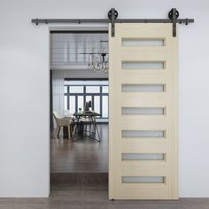 Colonial Elegance Frosted Glass Wood Unfinished Milan Barn Door without Installation Hardware Kit Frosted Glass Barn Door, Sliding Glass Barn Doors, Sliding Closet Doors, Loft Doors, Door Design, House Design, Farm Door, Classic Doors, Metal Barn