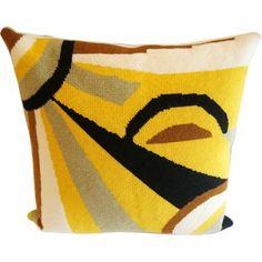 Abstract Needlepoint Sun Pillow