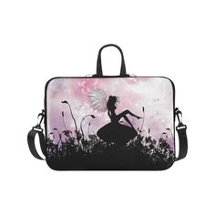 Pink Fairy Silhouette with bubbles Laptop Handbags Laptop Handbags, Fairy Silhouette, Drawstring Backpack, Bubbles, Backpacks, Pink, Women's Backpack, Pink Hair, Roses