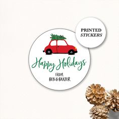 Round Holiday Stickers, Holiday Gift Stickers Personalized, Gift sticker, Holiday Labels, Christmas Gift Stickers, Car with Christmas Tree Tea Party Favors, Halloween Party Favors, Halloween Birthday, Halloween Stickers, Christmas Stickers, Holiday Gifts, Christmas Gifts, Christmas Tree, Gift Labels