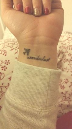 Wanderlust Tattoos : small wrist tattoos : wanderlust : airplane tattoos