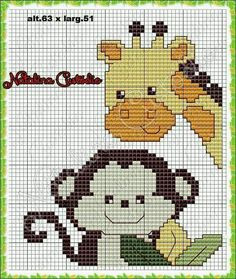 macaco e girafa ponto cruz