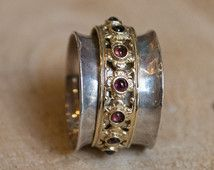 Eternity wedding band, gold spinner ring, garnets ring, bohemian ring, silver ring, ethnic ring, twotone ring - New beginnings 2 R1149XZ