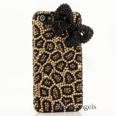 Bling iphone 5 Case Cover Faceplate 3D Swarovski Luxury Crystal Diamond Leopard with Black Bow Design! Love it