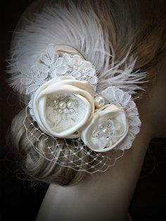 Everyone, I just got some amazing brand name purses,shoes,jewellery and a nice dress from here for CHEAP! If you buy, enter code:atPinterest to save http://www.superspringsales.com -   ****Ivory Bridal hair flowers with Russian Veil,Lace and feathers
