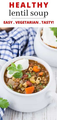 Hearty and healthy, this easy lentil soup recipe is loaded with flavorful veggies and pasta. Lentil soup is a satisfying, meatless entree you can serve in under an hour. Make this vegetarian dish with pantry staples on the stovetop or in the crockpot. Yummy Pasta Recipes, Lunch Recipes, Whole Food Recipes, Vegan Recipes, Dinner Recipes, Cooking Recipes, Easy Recipes, Lentil Soup Recipes, Chili Recipes