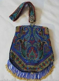 Antiques Bright Antique Art Deco Gold T Braided Chain Blue Knit Iridescent Peacock Bead Purse Periods & Styles