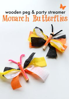 So simple! Great monarch butterfly craft. You could use any color streamers for other butterflies.