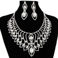 White Gold Plated Victorian Chandelier Wedding Bridal Jewelry Sets SKU-10801346