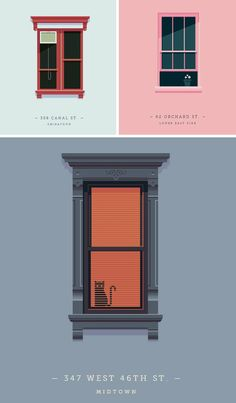 Windows of New York: Weekly Documentary Design Project Simple Illustration, Pattern Illustration, Building Front, Isometric Design, Sprites, Flat Design, Graphic Design Inspiration, Vector Design, Design Projects