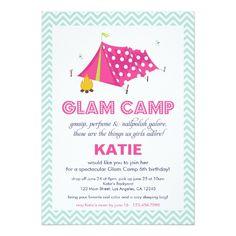 Glam Camp Makeover Girls Birthday Invitation Card