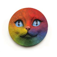 Rainbow Cat Face Cab 40mm Round Kitty Kitten by graphixoutpost