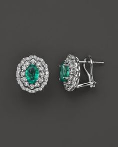 Emerald and Diamond Flower Stud Earrings in 14K White Gold - 100% Exclusive | Bloomingdales's