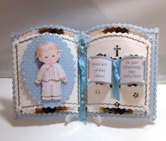 bookatrix personalised boy Christening/Communion card,plastic stand & box