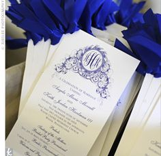 Angela and Keith's ceremony programs, printed on single sheets of cardstock, kept with the wedding's