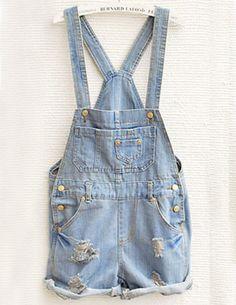Sky Blue Overalls Pocket Jumpsuit - Sheinside.com