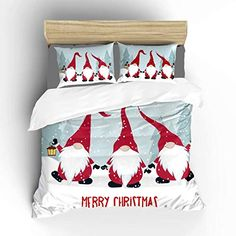 Aluy's boutique Scandinavian Christmas Gnome Soft Duvet Cover, King Size 3 Pieces with 1 Duvet Cover and 2 Pillowcase...