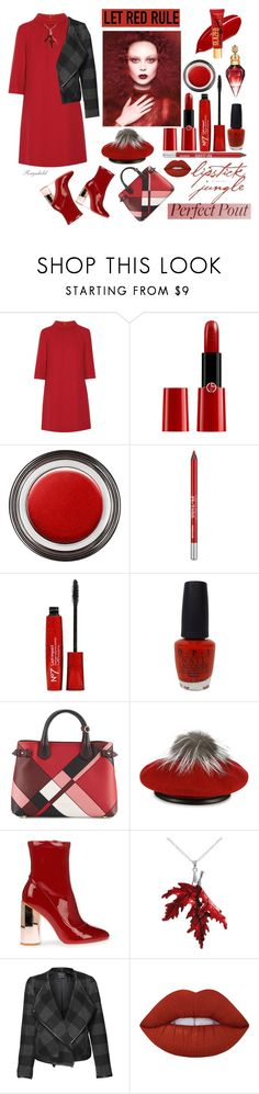 """""""Fall Beauty, Red Lipstick"""" by ragnh-mjos ❤ liked on Polyvore featuring beauty, Goat, Giorgio Armani, Chanel, Urban Decay, OPI, Burberry, Eugenia Kim, Devoted and Lime Crime"""