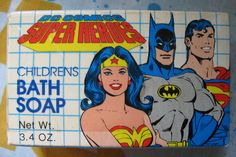 FREE SHIPPING - Vintage DC Comics Super Heroes Childrens Bath Soap Batman Superman Wonder Woman - 3.4 ounces - 1990 - Cosrich