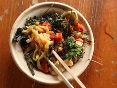 Yuji Ramen - miso roasted vegetable mazemen: seasonal vegetables (cauliflower, carrot, and turnip) coated in a barley-based miso sauce with shredded kale and seaweed