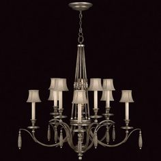 Fine Art Lamps Villa Vista 806940ST Chandelier in hand painted driftwood finish on metal with silver leafed accents and hand-sewn driftwood linen shades.
