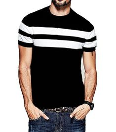 70f679475d5 Veirdo Men s Cotton T-Shirt Black With White Strip Casual T-Shirts  Amazon.in   Clothing   Accessories